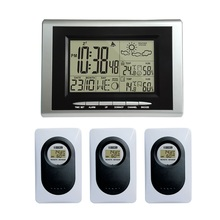433MHz RF Wireless Weather Station Weather Forecast Clock with Indoor Outdoor Temperature Humidity Digital Alarm 2 Transmitters недорого