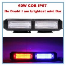 strobe warning COB LED mini light bar for tailer truck/police/ambulance /fire 60W super brightest red blue amber