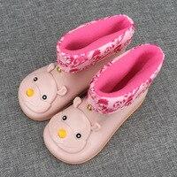 Melissa kinderen neushoorn hoofd regen laarzen schoenen dubbele kleur plus fluwelen verdikking warme jelly ski laarzen