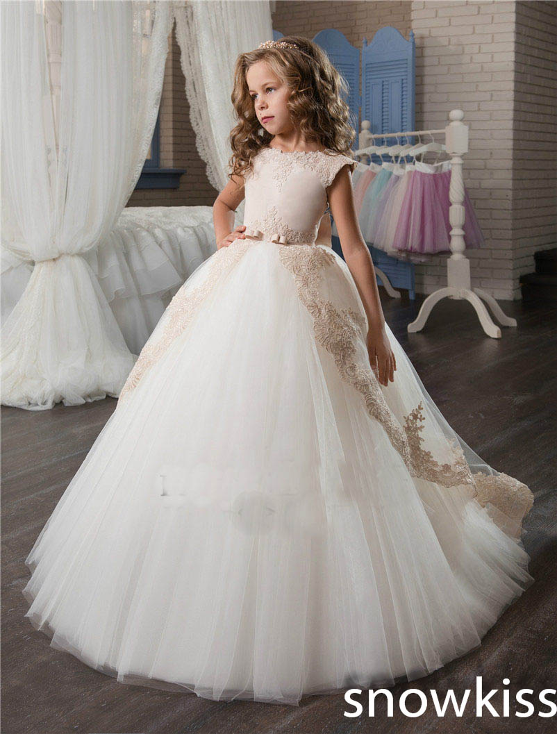 White pretty mother daughter wedding dresses with beaded appliques bow flower girl holy communion dress Princess dress ball gown 3 8 electric solenoid valve water air n c all brass valve body 2w040 10 dc12v ac110v