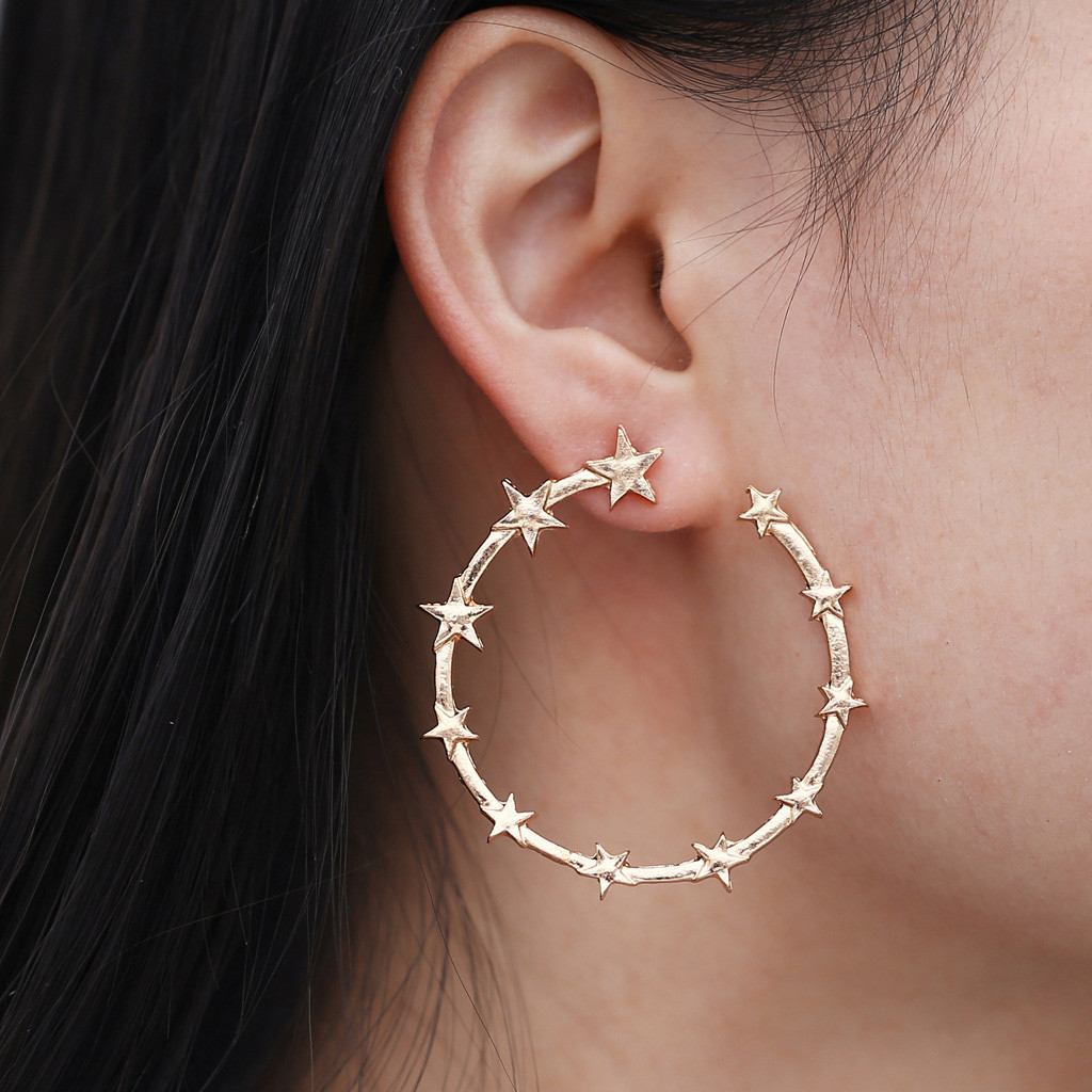 Zerotime #5001 2019 NEW FASHION Punk Minimalist 40mm Thick Tube Big Gold Alloy Round Star Circle Hoop Earrings hot Free Shipping