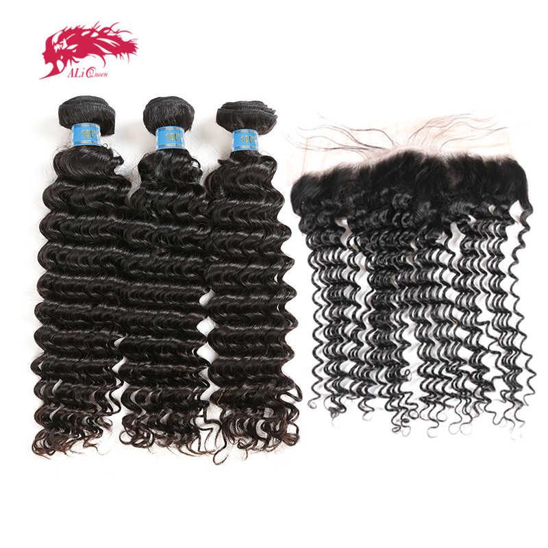 Ali queen hair перуанские глубокие волнистые человеческие волосы плетение пучок s 3 шт. пучок s с 13x4 кружева Фронтальная девственные волосы закрытие с пучком