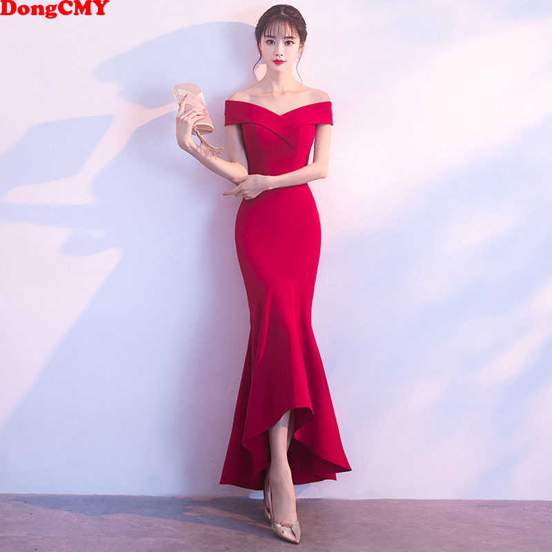 DongCMY Formal V-Neck Burgundy Evening Dresses Ankle-Length robe de soiree Party Vestido abendkleider Gown(China)