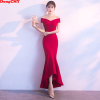 DongCMY Formal V Neck Burgundy Evening Dresses Ankle Length robe de soiree Party Vestido abendkleider Gown
