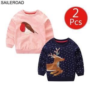 Image 4 - SAILEROAD 2 Động Vật Cô Gái Áo Giáng Sinh Hươu Trẻ Em Áo Khoác Mùa Thu Bé Nhỏ của Quần Áo Cotton Áo 7 Năm