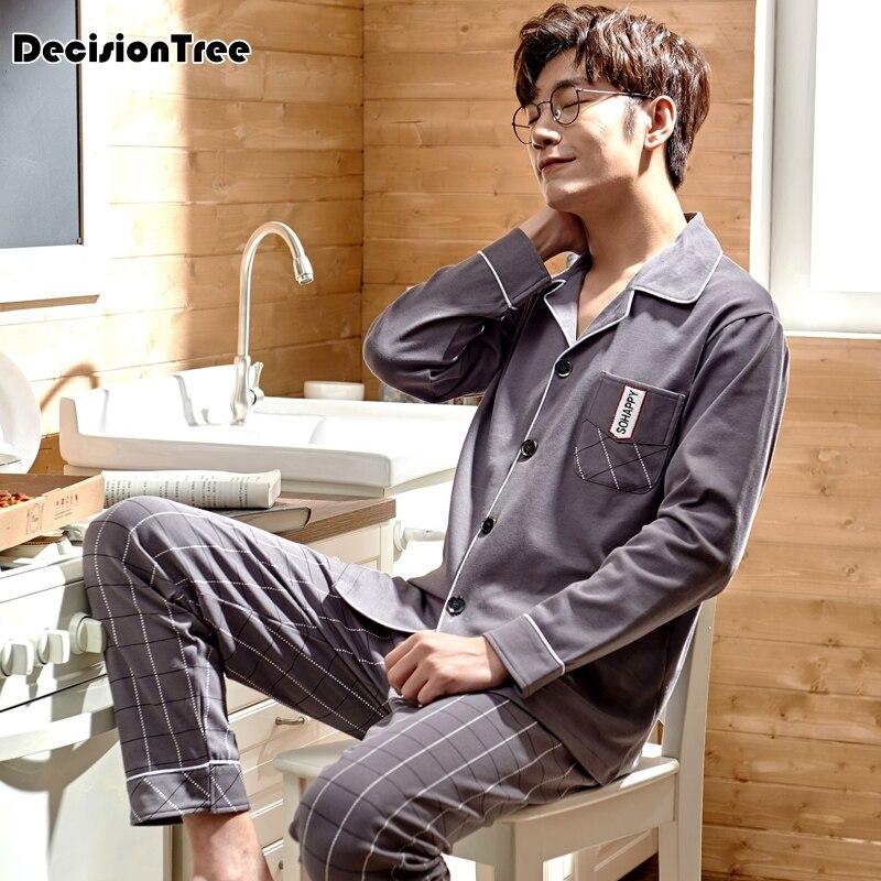 2020 cartoon pajamas set men's clothing long sleeve cotton sleepwear casual homewear male pyjamas plus