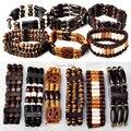 12Pcs Mixed Design Wood Beads Charm Bracelet Women Men Jewelry Fashion Elastic Wooden Bangle Cuff Bracelet Wholesale