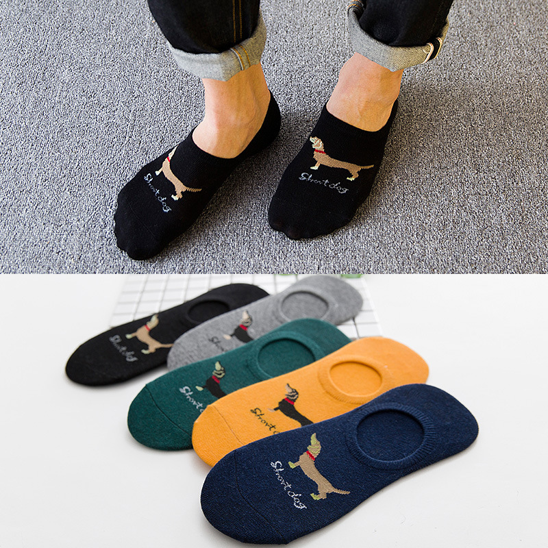 Spring Summer Men  Cotton Man Socks Short Dog Male Low Cut Ankle Sock Boy Boat Casual Slippers 1pair=2pcs WS112