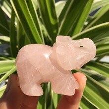 2.0Natural Rose Quartz Crystal Hand-carved Elephant