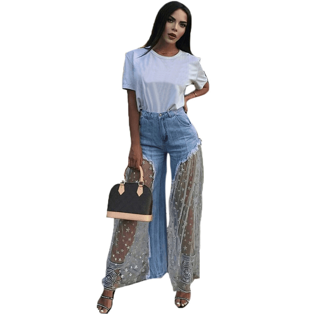 Lace Mesh Spliced Denim Pants Women Casual Star Print Sexy Burr Perspective Long Women   Jean   Elegant Outwear Loose Women Pants