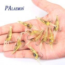 PALAEMON 10 pcs/los 45mm 2g Réaliste Leurre De Pêche Doux crevettes Artificielles appât doux boucles Crochet crevettes appât doux Leurre Souple Pesca