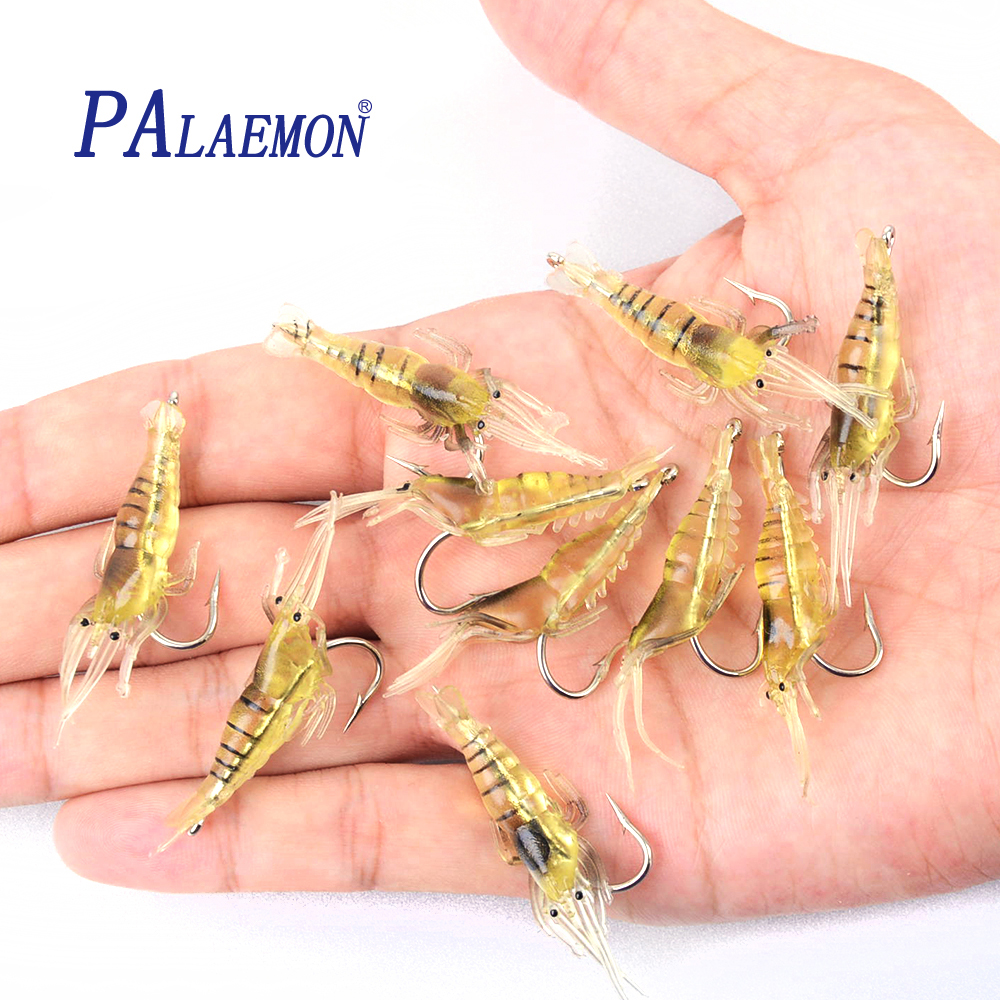 PALAEMON 10pcs/los 45mm 2g Lifelike Fishing Lure Soft Artificial shrimp bait soft curls Hook shrimp soft bait Lure Souple Pesca