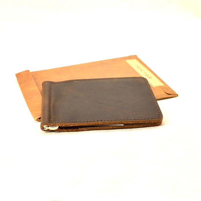 61dd629a41a5 Handmade Money Clip Wallet Slim Genuine Leather with Metal Money Holder  Wallet Vintage Stainless Mens Wallet Clip Bill Holder-in Money Clips from  Luggage ...