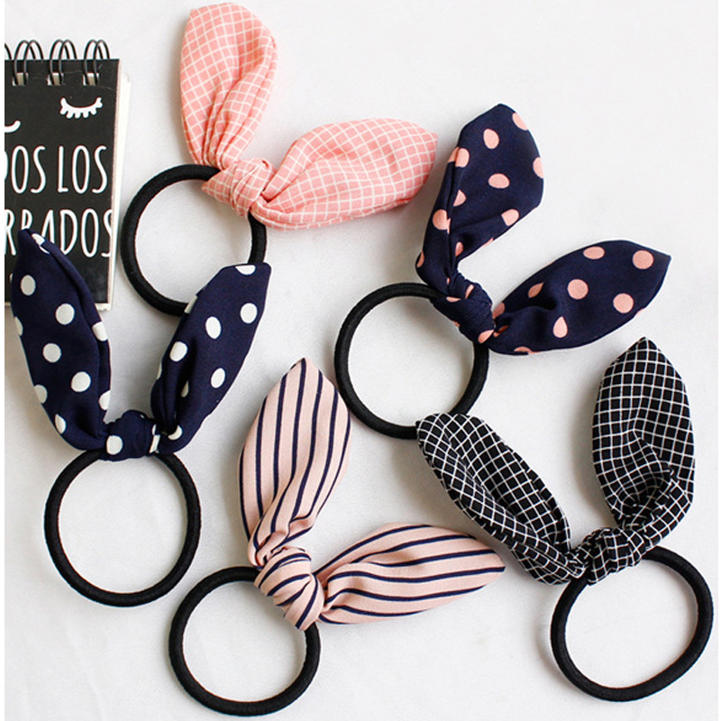 Ruoshui Woman Lovely Rabbit Ear Scrunchies Cute Hair Ties Striped Dot Elastic Hairband Girls Hair Accessories Hair Rope Gum