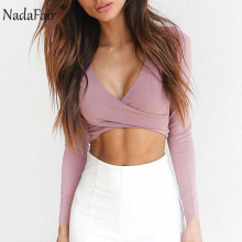 Nadafair 2018 New Autumn Long Sleeve V Neck Bandage Sexy Club T Shirts Women White Black Casual Crop Tops Female Casual T-Shirts