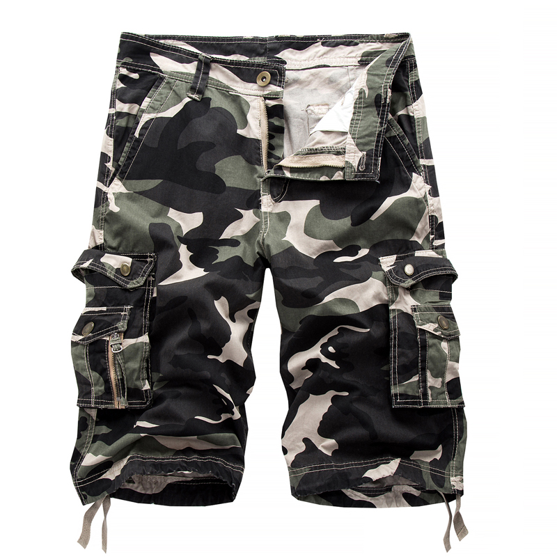 Men s 100 Cotton camouflage Cargo Shorts New fashion Male Multi pocket Casual Army Green Tooling