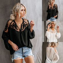 Fashion Chiffon Blouses Woman Sexy Illusion Long Sleeve Beach Shirts 2019 Summer Womens Tops and V-Neck Blouse Femme