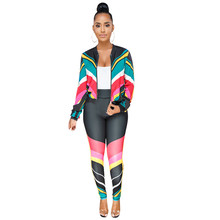 Casual Tracksuit Women Two Piece Set Autumn Outfits Zipper Printed Sweatshirt Jacket and Pants Set Ladies
