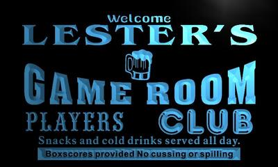 x0193-tm Lesters Players Club Game Room Custom Personalized Name Neon Sign Wholesale Dropshipping On/Off Switch 7 Colors DHL
