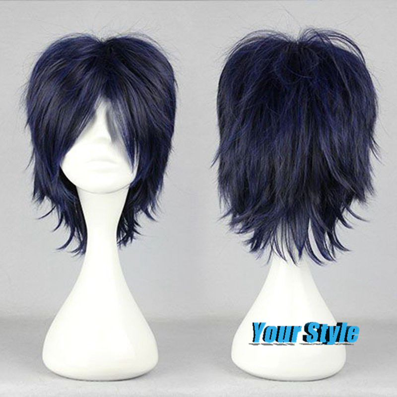 Top Quality Male 32cm Anime Men Short Layered Dark Blue Cosplay Wig Haircuts Hairstyles Peruca