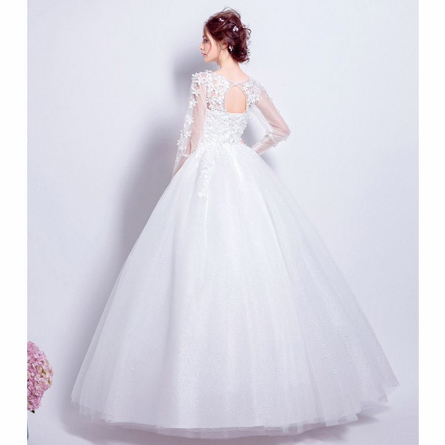 Its yiiya new off white full sleeve o neck wedding dresses sexy its yiiya new off white full sleeve o neck wedding dresses sexy backless crystal pearls flower embroidery wedding frock qxn138 in wedding dresses from ombrellifo Choice Image