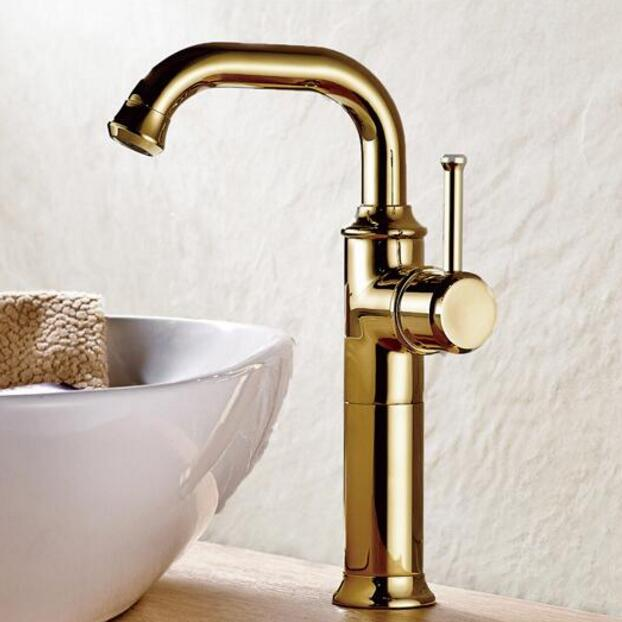 цена на New Arrival Water Tap Wholesale And Retail Gold Brass Bathroom Basin Faucet Sink tap Swivel Spout Vanity Sink faucet Mixer