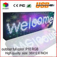 P10 outdoor full color LED sign usb programmable rolling information led display screen 38X12.6 inch Outdoor Electronic Sign