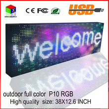 P10 outdoor full color LED sign usb programmable rolling inf