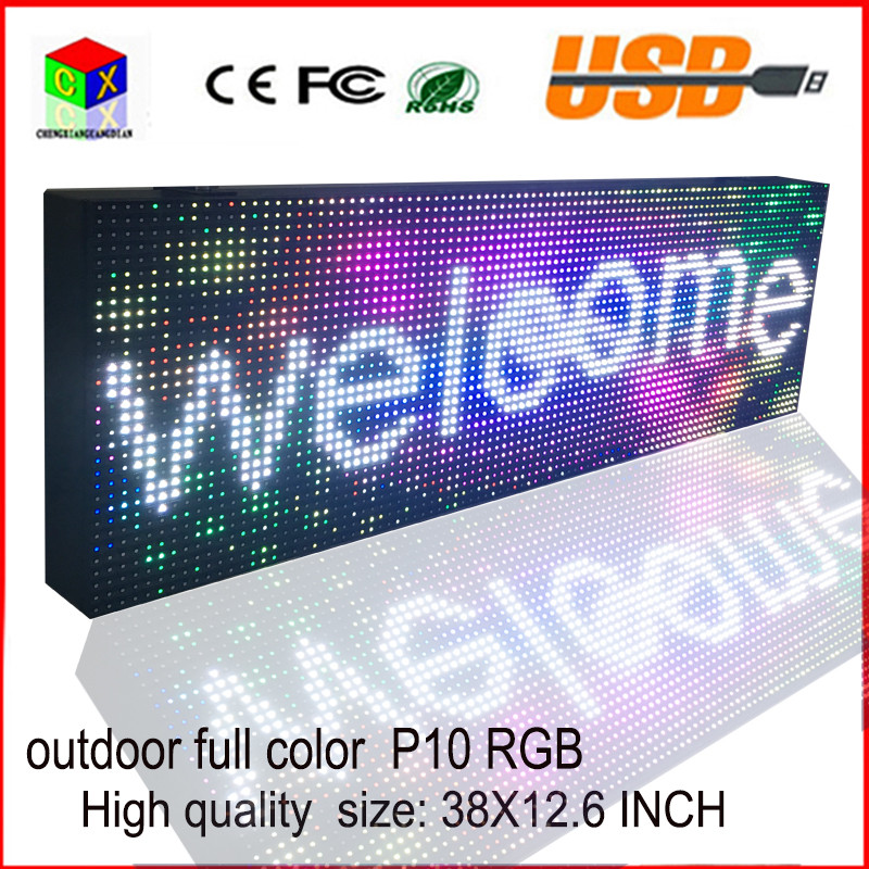 P10outdoor full color LED sign usb programmable rolling information led display screen 38X12.6 inch