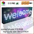 P10outdoor informações display led full color LEVOU assinar programável usb rolando tela 38X12.6 inch