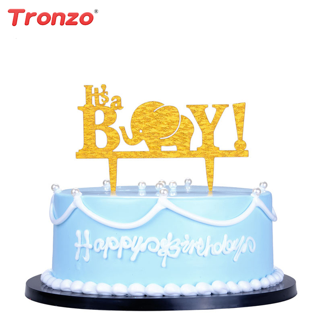 Tronzo Itu0027s A Boy Baby Shower Cake Topper Lovely Elephant Birthday Party  Decorations Kids Acrylic Cake