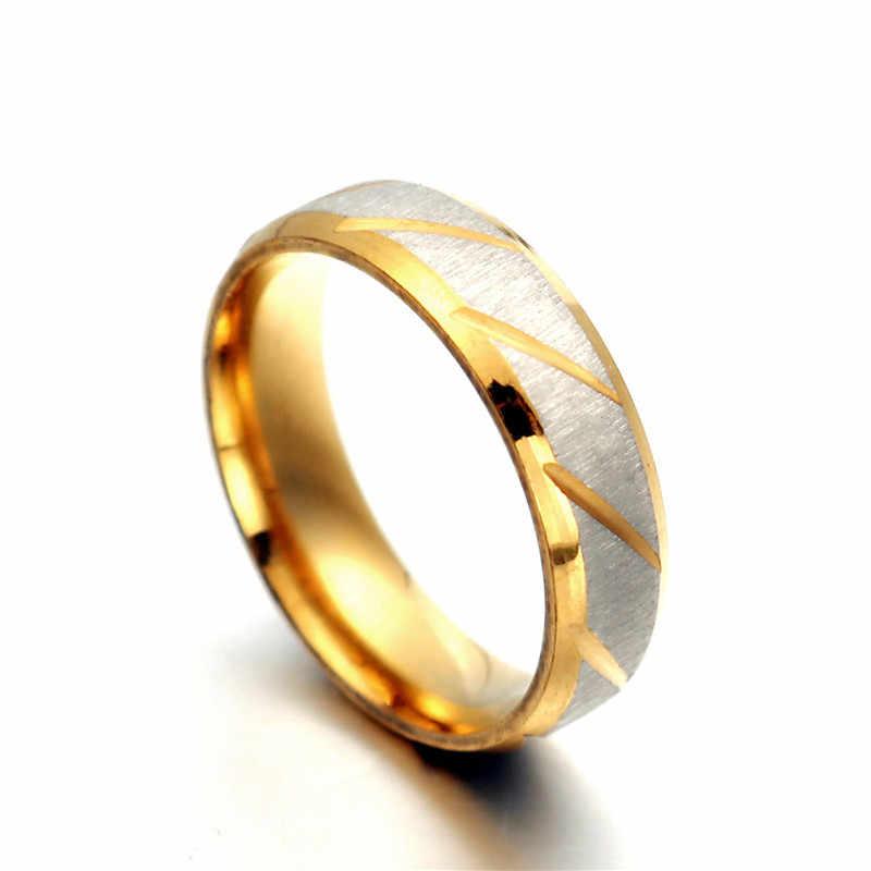 ใหม่ล่าสุด Twill Stripe Gold สีแหวนสแตนเลสสำหรับผู้หญิงผู้ชายราคาถูก Vintage Matt คู่แหวนเครื่องประดับ