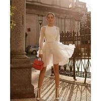 EXCOSMIC Лето с длинным рукавом o образным вырезом хлопок белое кружево шелк торт платье Винтаж Вышивка Вечерние элегантное платье взлетно поса