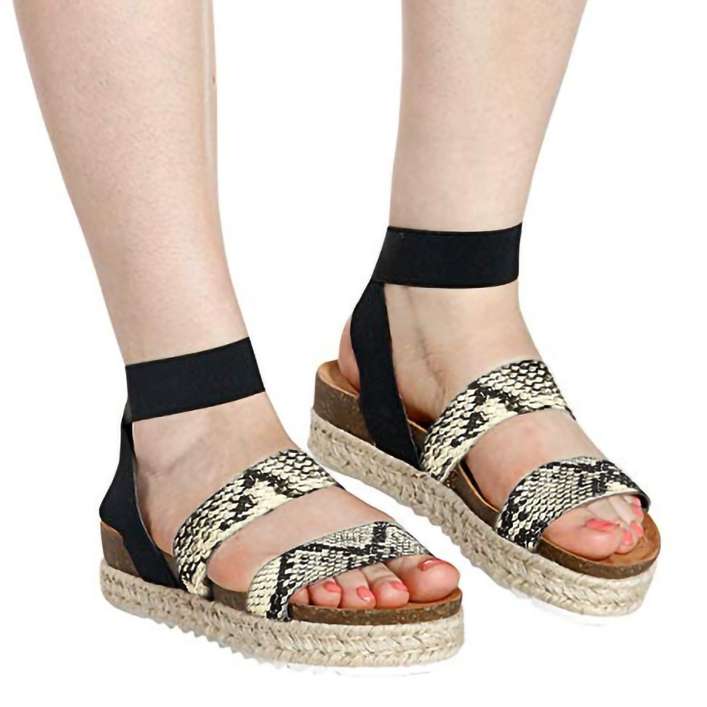 Fashion Snake Grain Flat Sandals For Women Ankle Platform Sandals Women Elastic Band Straps Roman Sandals Women Bohemia#g30 High Heels