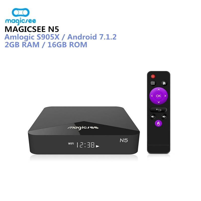 MAGICSEE N5 Android TV Box OS TV Box Amlogic S905X Android 7.1.2 2 gb RAM 16 gb ROM 2,4g 5g WiFi 100 Mbps BT4.1 Unterstützung 4 karat H.265