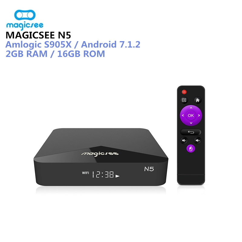 MAGICSEE N5 Android TV Box OS TV Box Amlogic S905X Android 7.1.2 2 GB RAM 16 GB ROM 2,4G 5G WiFi 100 Mbps BT4.1 Unterstützung 4 K H.265