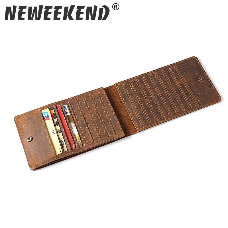 Neweekend 100% Genuine Leather 18 Card Slots Business Retro Card Holders Long Wallet Credit ID Card Holder Unisex Men 2077