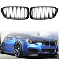 Pair Gloss Black Left Right Car Front Double Line M3 Style Grille Grills For BMW F30