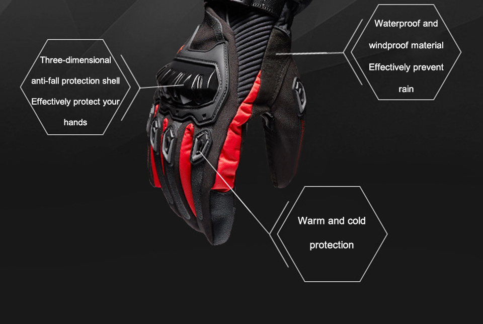 Foxcncar motorcycle gloves 100% Waterproof windproof Winter warm Guantes Moto Luvas Touch Screen Motosiklet Eldiveni Protective (15)