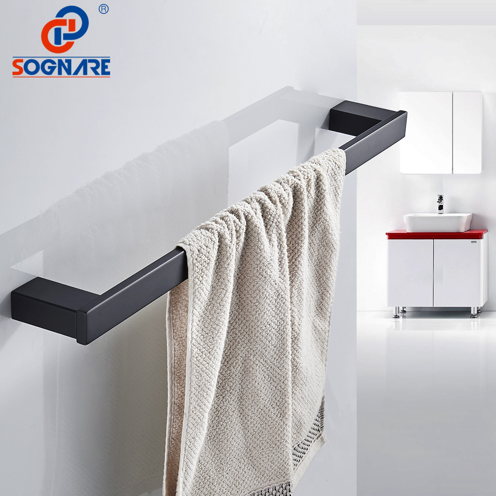 SOGNARE Black Matte Towel Rack Bath Towel Bar Wall Mounted Single Towel Rail Towel Holder 304 Stainless Steel Bathroom Hardware sus304 stainless steel mirror 60cm single towel bar towel rail holder stainless steel construction sm020 water sa