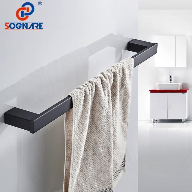 Sognare Black Matte Towel Rack Bath Bar Wall Mounted Single Rail Holder 304