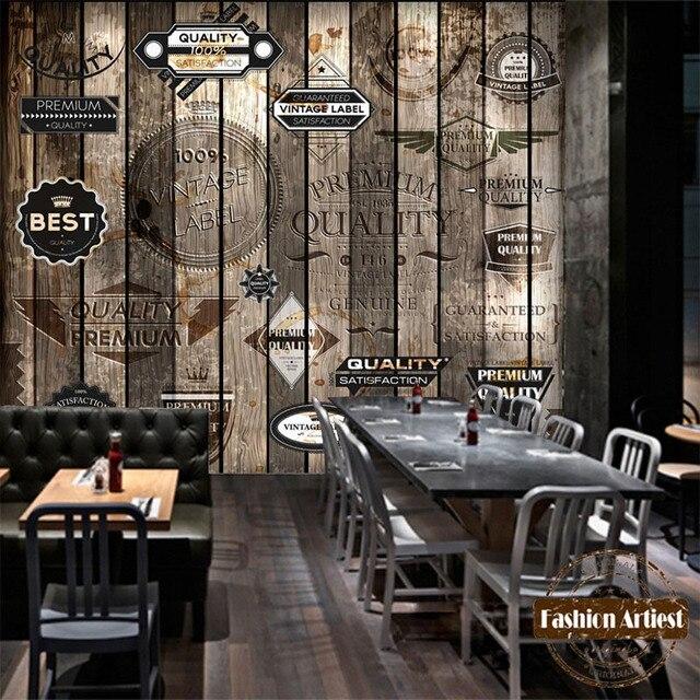 Kundenspezifische Moderne 3d Wallpaper Wandbild Vintage Marke Auf Holz Wand Tv Sofa Schlafzimmer Wohnzimmer Cafe Bar
