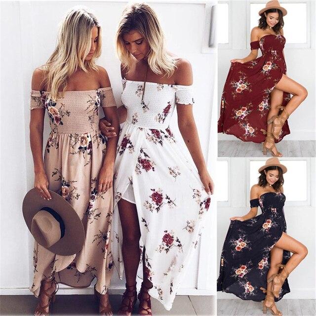9e8336d434e8d € 6.3 |Boho style longue robe femmes Off épaule plage robes d'été imprimé  floral Vintage en mousseline de soie blanc maxi robe robes de festa ...