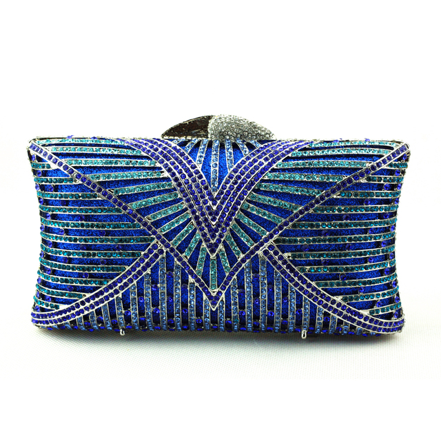 Wholesale Champagne Blue Clutch Bag Small Size Crystal Clutch Purse