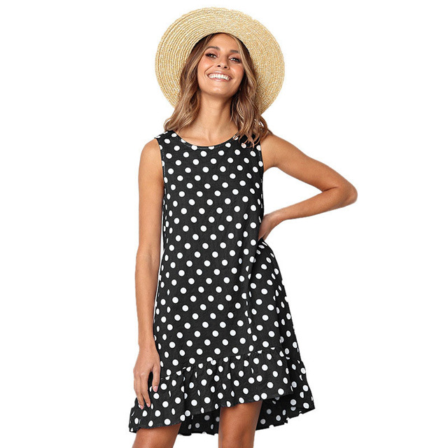 Dot Print Beach Dress Women...