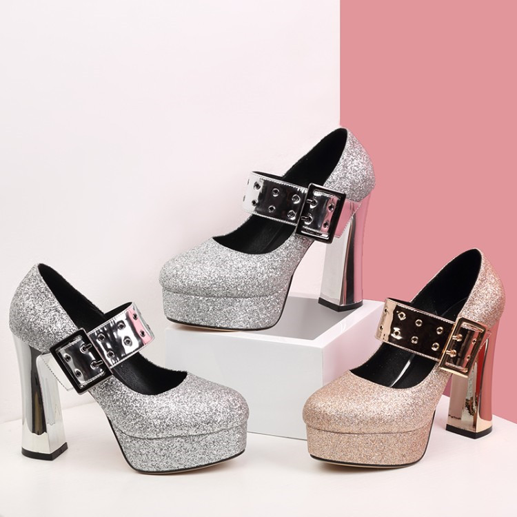 Chunky Wedding Heels: PXELENA Bling Bling Wedding High Heels Shoes Bride Women
