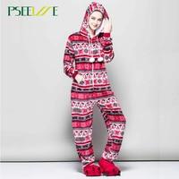 PSEEWE New Winter Christmas Pajama Sets Women Cartoon Sleepwear Women Pajama Flannel Hooded pajama set