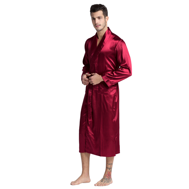 Tony&Candice Men's Silk Satin Bathrobe Robe Long Solid Silk Pajamas Men Silk Nightgown Sleepwear kimono homme Dressing Gown 1