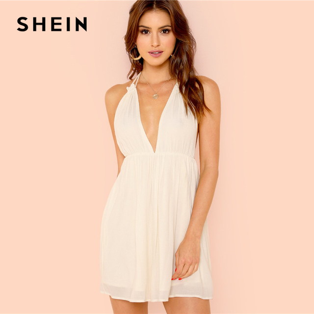 3da201f33594 SHEIN White Vacation Bohemian Beach Party Sexy Backless Plunging Halter Neck  Contrast Lace Trim Summer Short Dress For Women