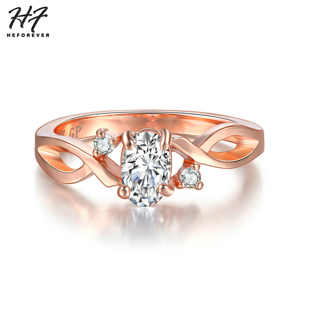 Qualified Wedding Rings For Women Simple Wave Shape Four Claw Oval Cubic Zirconia Rose Gold Color Party Gift Fashion Jewelry R785 Strong Resistance To Heat And Hard Wearing